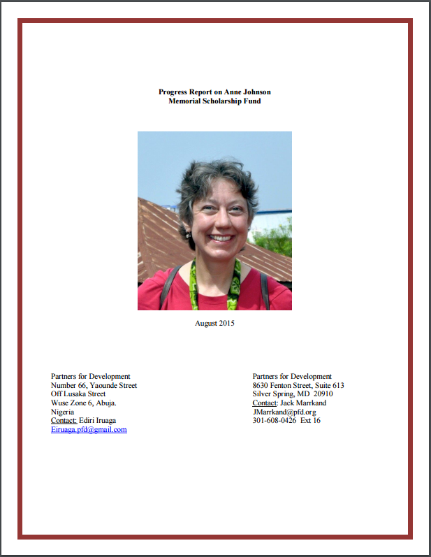 Progress Report on Anne Johnson Memorial Scholarship Fund - August 2015