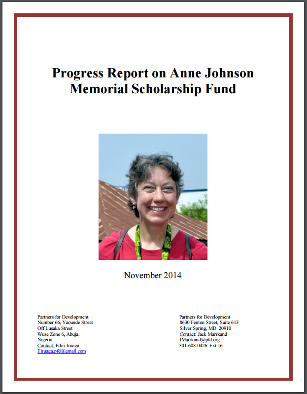 Progress Report on Anne Johnson Memorial Scholarship Fund - November 2014
