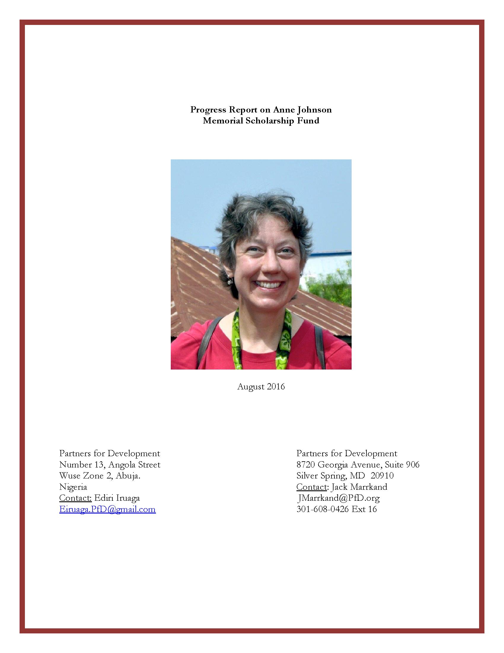 Progress Report Three on Anne Johnson Memorial Scholarship Fund - August 2016